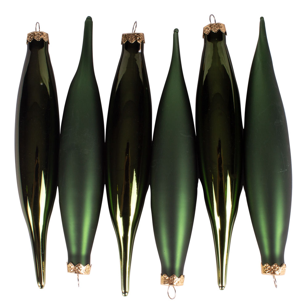 Dark Green Glass Icicle Hangers - 6 x 15cm