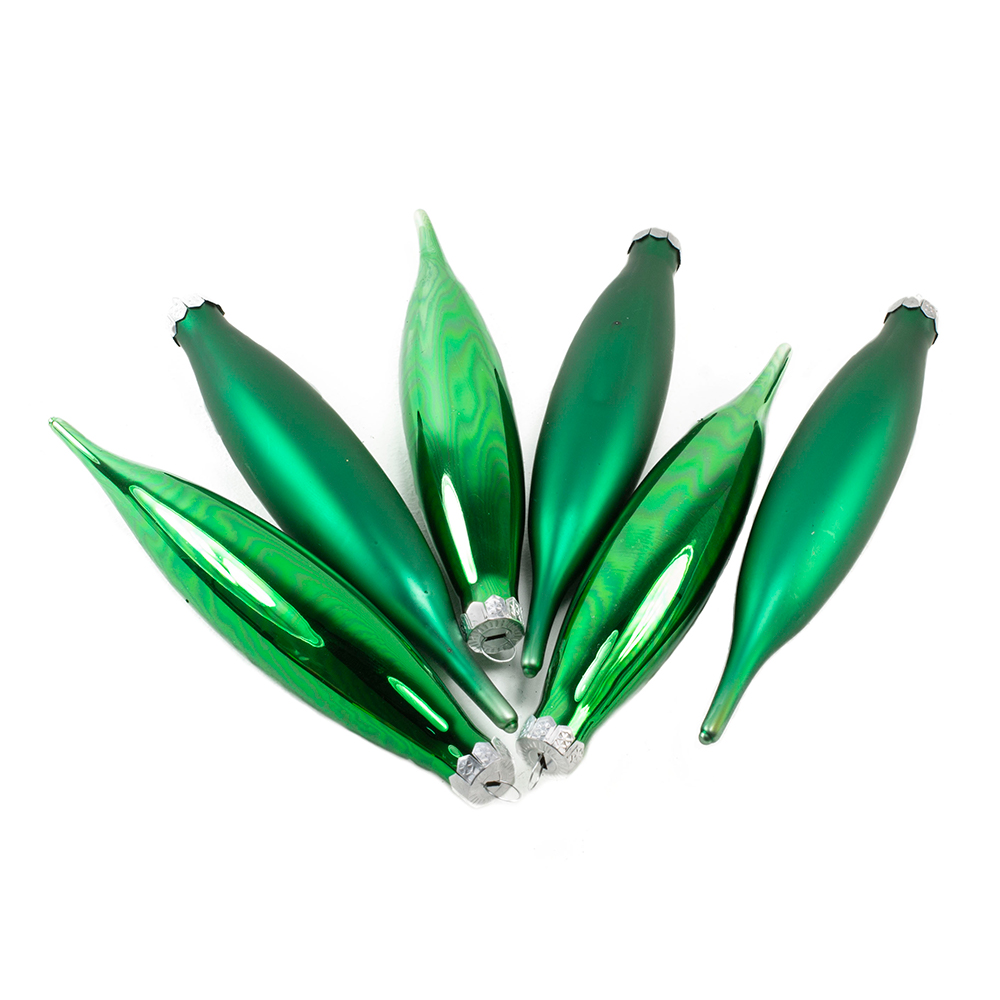 Holly Green Glass Icicle Hangers - 6 x 15cm