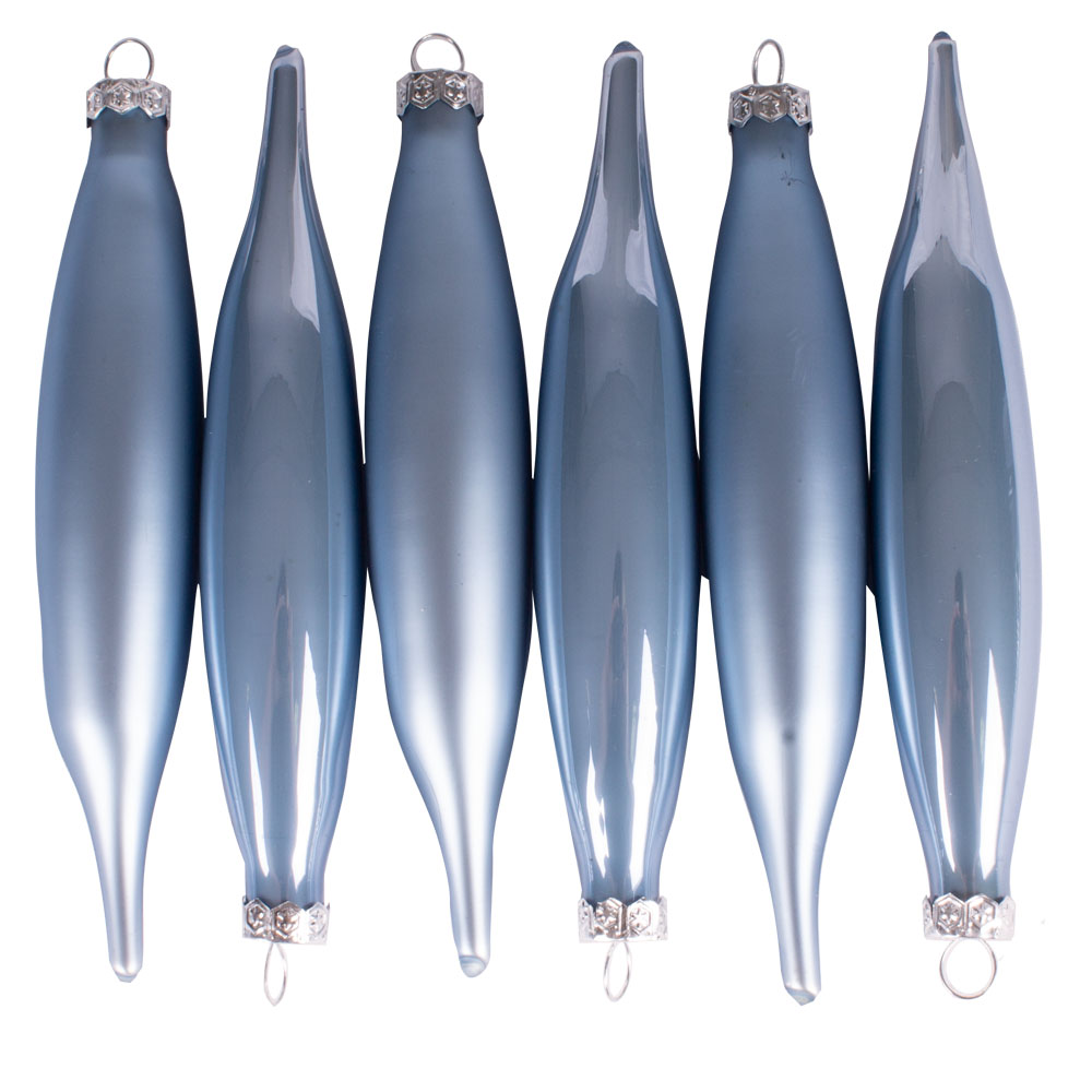 Ice Blue Glass Icicle Hangers - 6 x 15cm