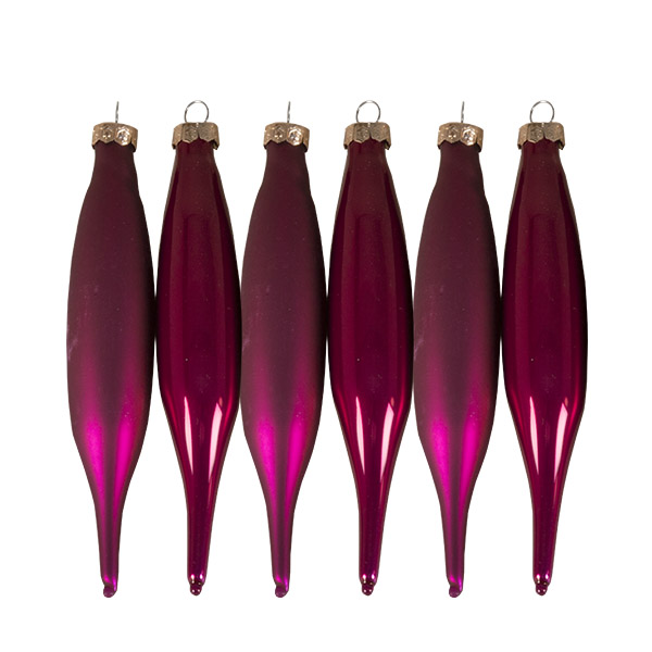 Raspberry Pink Glass Icicle Hangers - 6 x 15cm