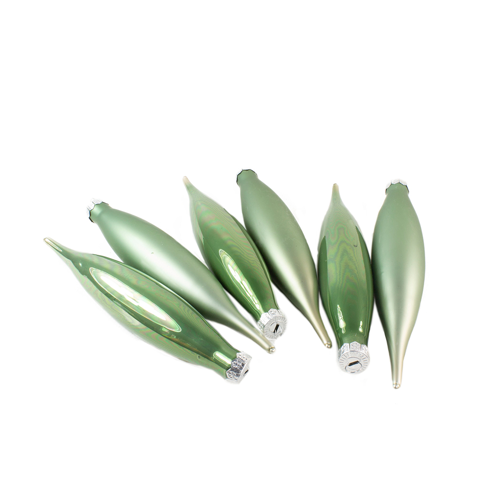 Sage Green Glass Icicle Hangers - 6 x 15cm