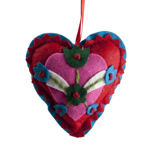 Decorated Textile Heart Hanger - 11cm