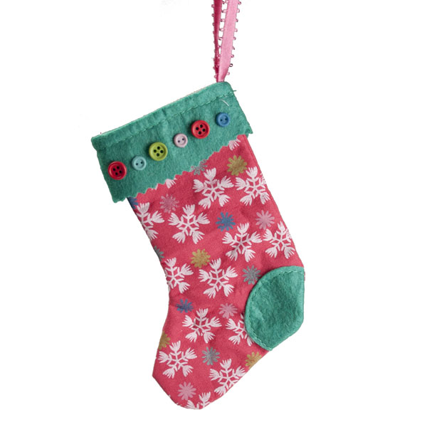 Gisela Graham Vintage Snowflake Fabric Stocking - 15cm