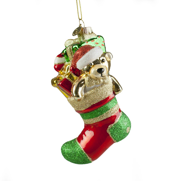 Hanging Glass Stocking Decoration With Presents