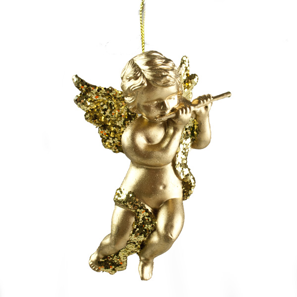 Gold Hanging Angel With Flute - 10cm