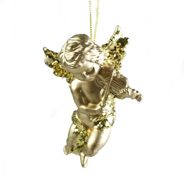Gold Hanging Angel With Violin - 10cm