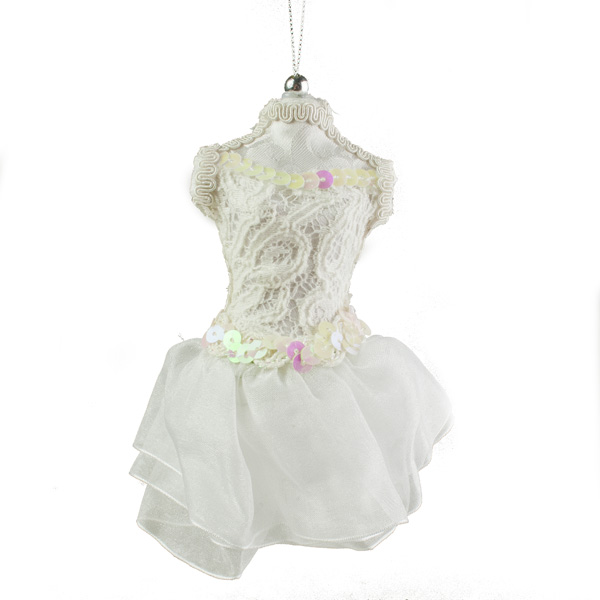 White Hanging Ballerina Dress - 12cm x 15cm