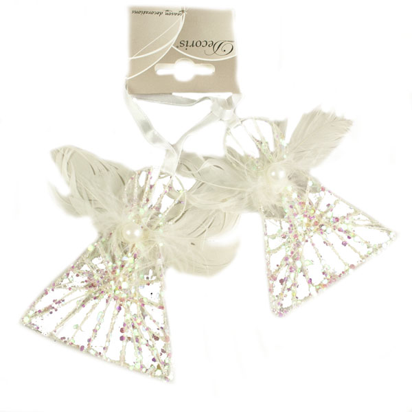 Glitter Mesh Angel With Feather & Faux Pearl Trim - 10cm