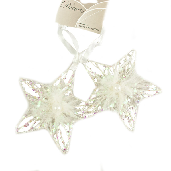 Glitter Mesh Star With Feather & Faux Pearl Trim - 10cm