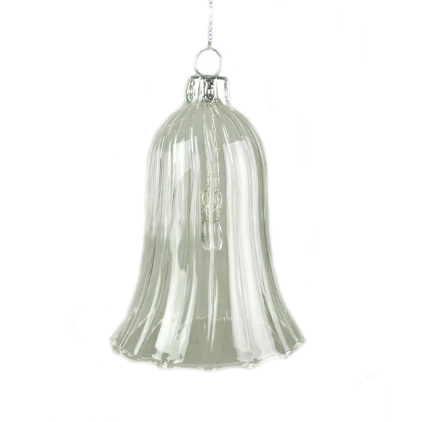 Gisela Graham Clear Glass Bell Hanging Decoration - 9cm