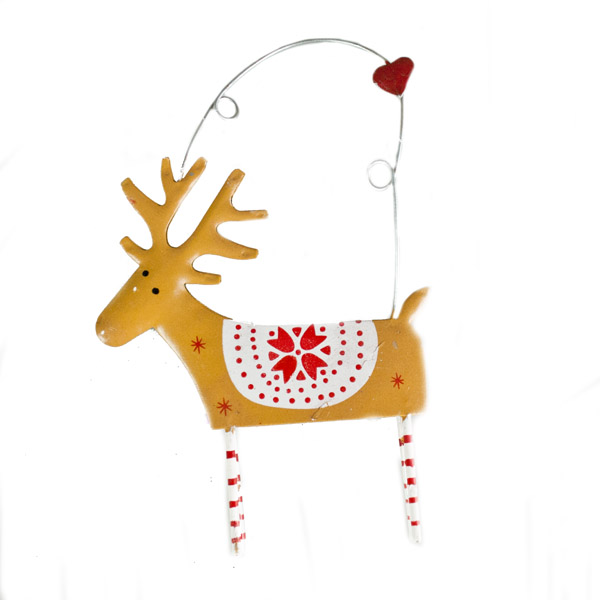 Gisela Graham Brown Tin Reindeer Hanging Decoration - 14cm