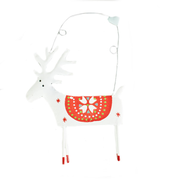 Gisela Graham White Tin Reindeer Hanging Decoration - 14cm