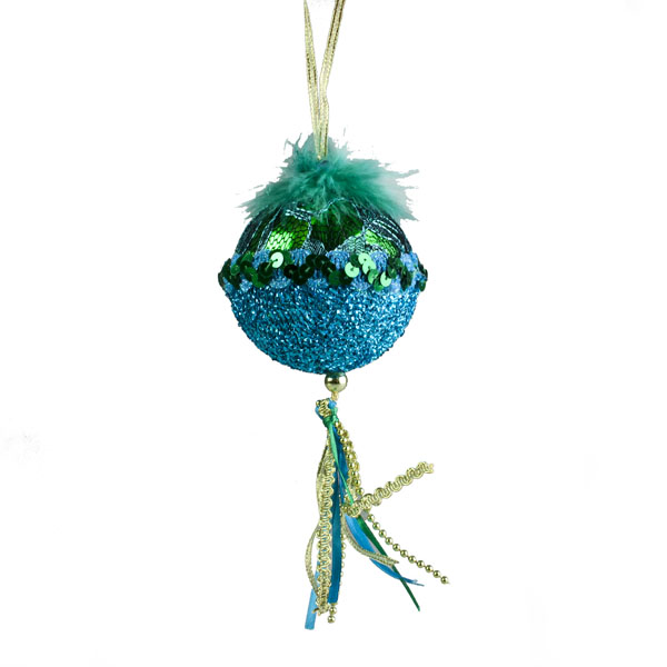 Emerald Ball Hanger With Decorated Top - 8cm