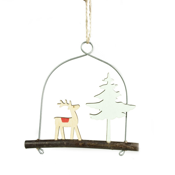 Gisela Graham Wooden Reindeer And Tree Design Hanging Decoration