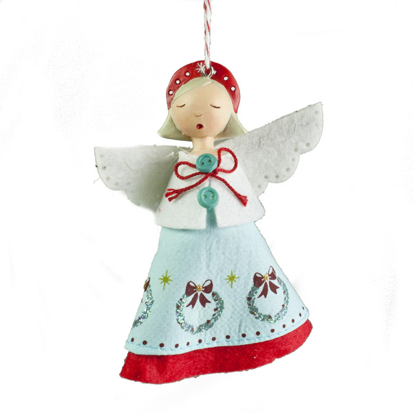 Gisela Graham Vintage Resin Angel  With Blue Fabric Dress - 10cm