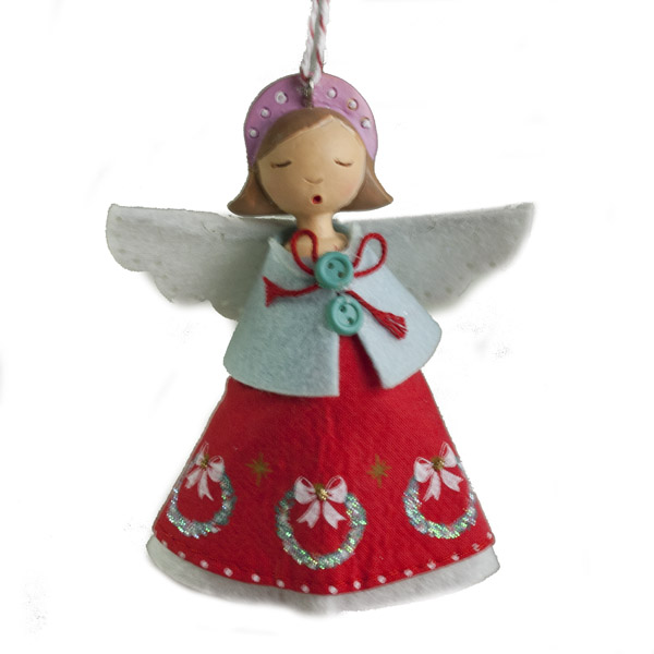 Gisela Graham Vintage Resin Angel  With Red Fabric Dress - 10cm