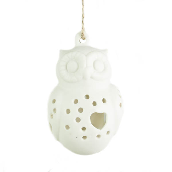 Gisela Graham White Ceramic Owl Hanging Decoration - 8cm