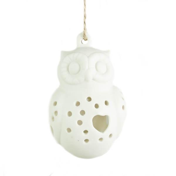 Gisela Graham White Ceramic Owl Hanging Decoration - 8cm