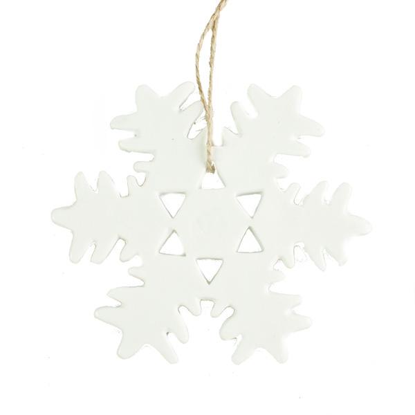 Gisela Graham White Ceramic Pointed Snowflake Hanging Decoration - 13cm