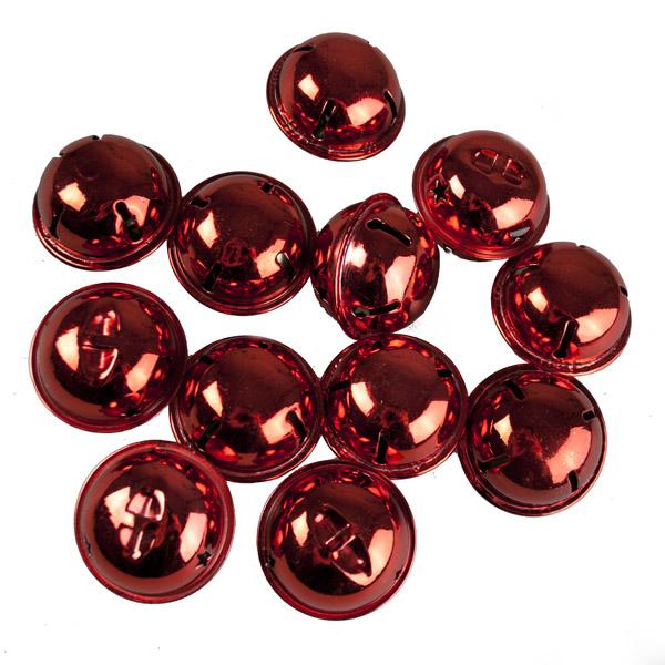 Tube Of 12 Red Shiny Jingle Bells - 38mm