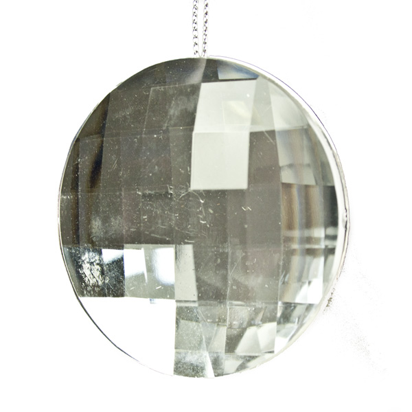 Clear Acrylic Diamond Effect Disc Hanging Decoration - 6cm