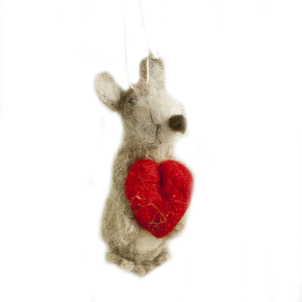 Plush Mouse Holding Heart Hanging Decoration - 10cm