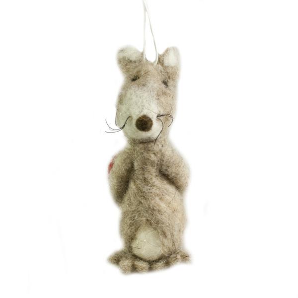 Plush Mouse Hiding Heart Hanging Decoration - 10cm