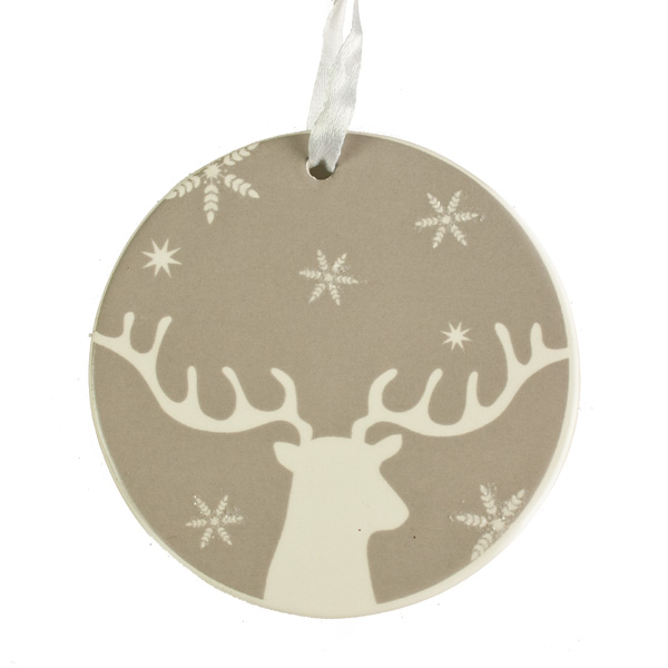 Flat Round Stag Design Hanging Decoration - 8cm
