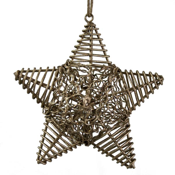 Bronze Metal Wire Star Hanging Decoration - 10cm