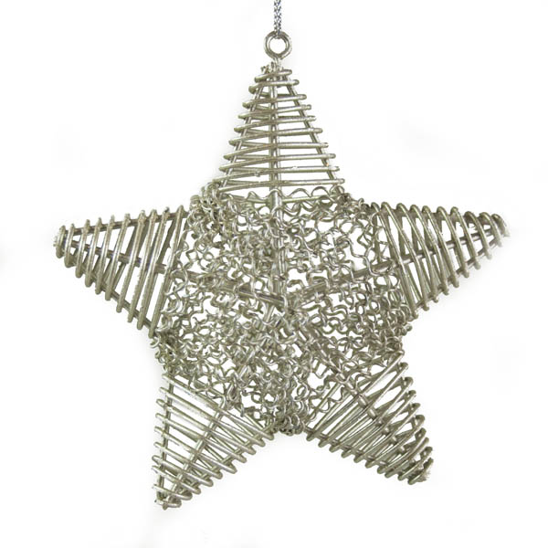 Silver Metal Wire Star Hanging Decoration - 10cm