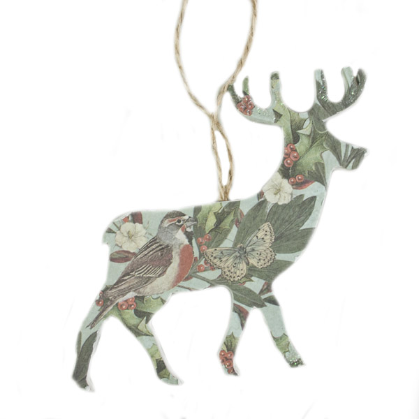 Gisela Graham Blue Decoupage Wooden Reindeer Decoration 10cm