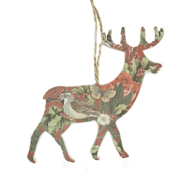 Gisela Graham Red Decoupage Wooden Reindeer Decoration 10cm