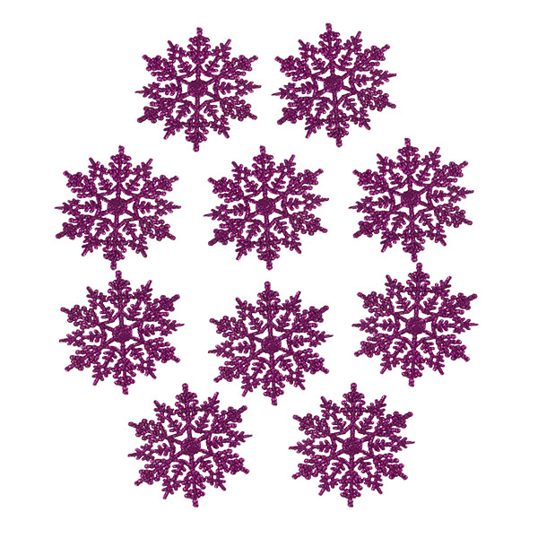 Pack Of 10 Cerise Pink Glitter Finish Snowflakes - 11cm