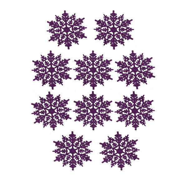 Pack Of 10 Purple Glitter Finish Snowflakes - 11cm