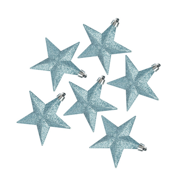 Pack Of 6 X 100mm Ice Blue Shatterproof Star Hanging Decorations