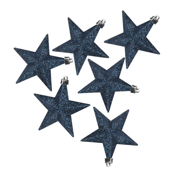Pack Of 6 X 100mm Midnight Blue Shatterproof Star Hanging Decorations