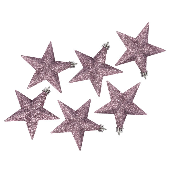 Pack Of 6 X 100mm Pink Shatterproof Star Hanging Decorations