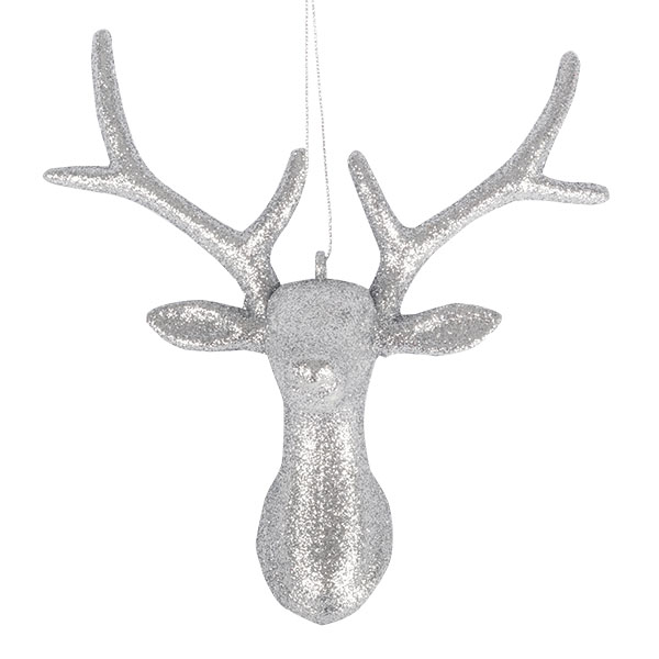 Silver Glitter Antler Hanging Ornament - 16cm