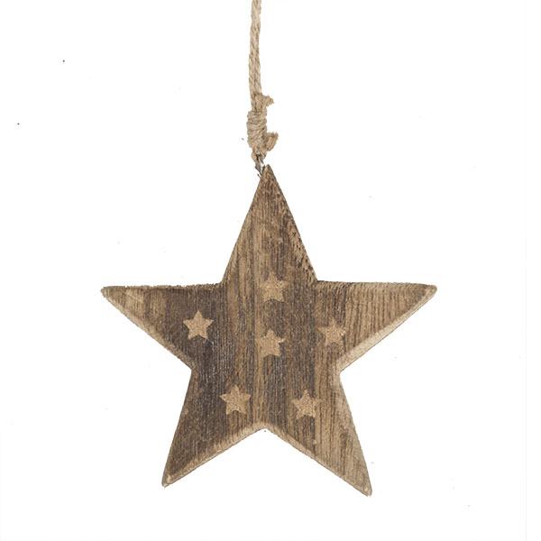 Wooden Star Hanging Decoration With Gold Stars - 10cm X 10cm