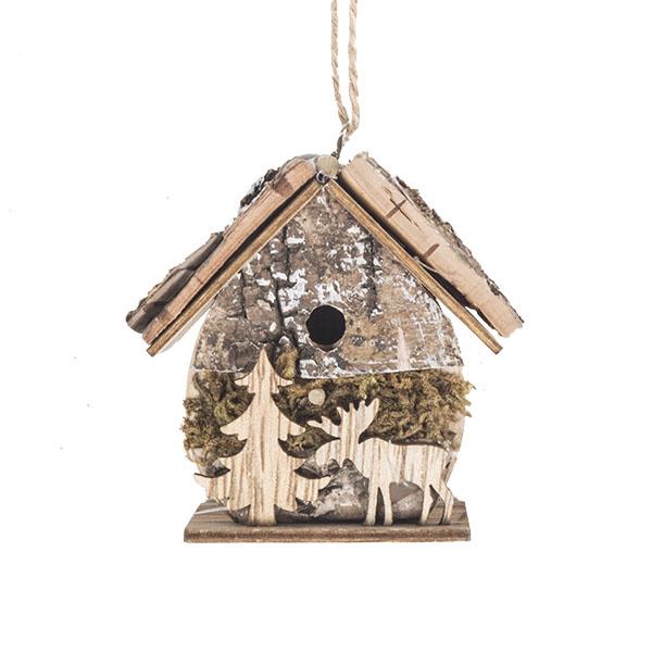 Oval Wooden Birdhouse Hanging Decoration - 6cm X 4cm X 7.5cm