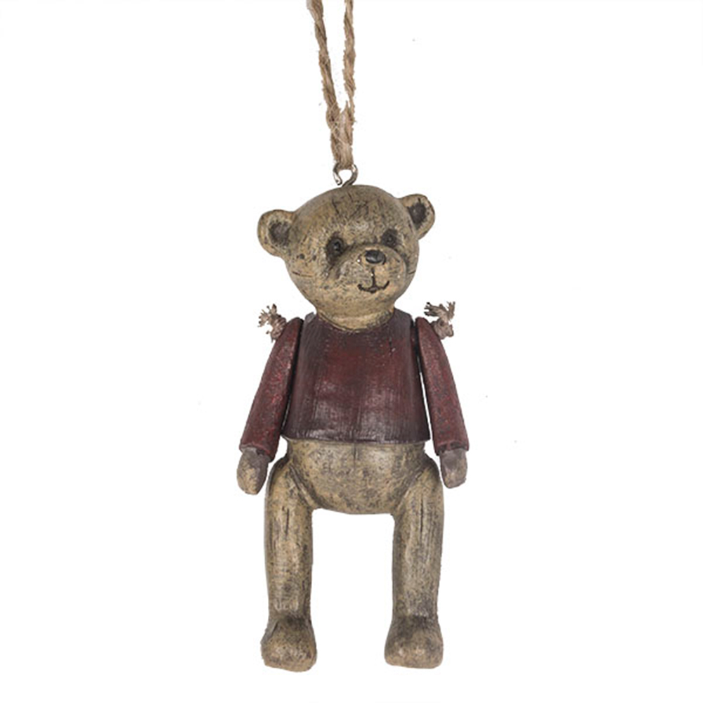 Vintage Style Teddy Tree Decoration With Red Jumper - 9cm