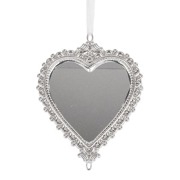 Silver Heart Shaped Mirror Hanging Decoration Fizzco Ltd