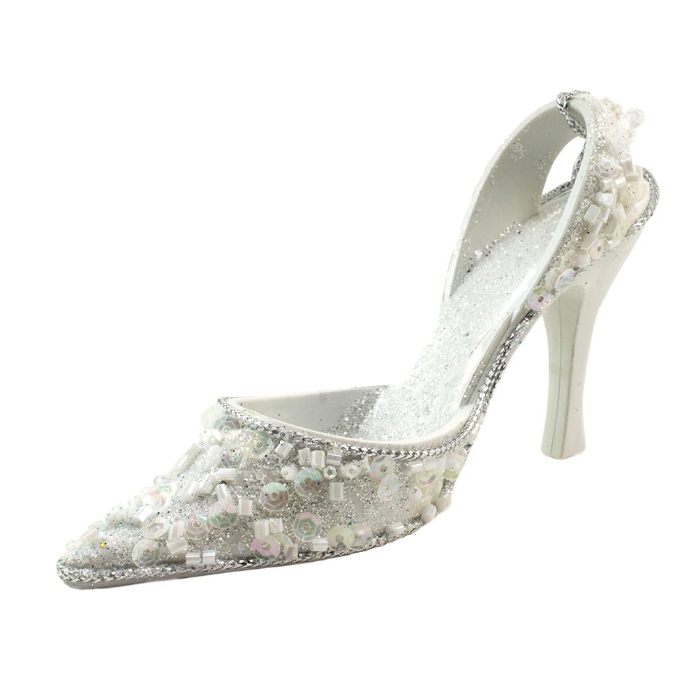White Glitter Finish Shoe Hanging Decoration - 13cm