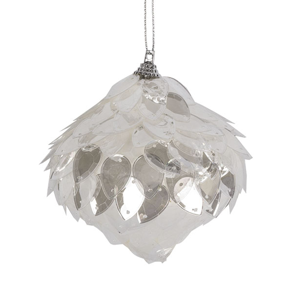 Clear Sequin Onion Hanging Decoration - 80mm