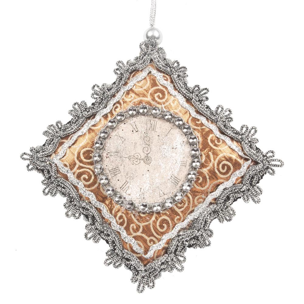 Fabric Antique Clock Hanging Decoration - 13cm