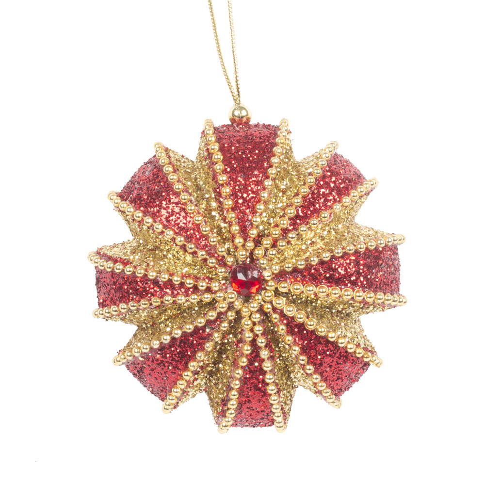 Red & Gold Segmented Disc Hanging Decoration - 100mm