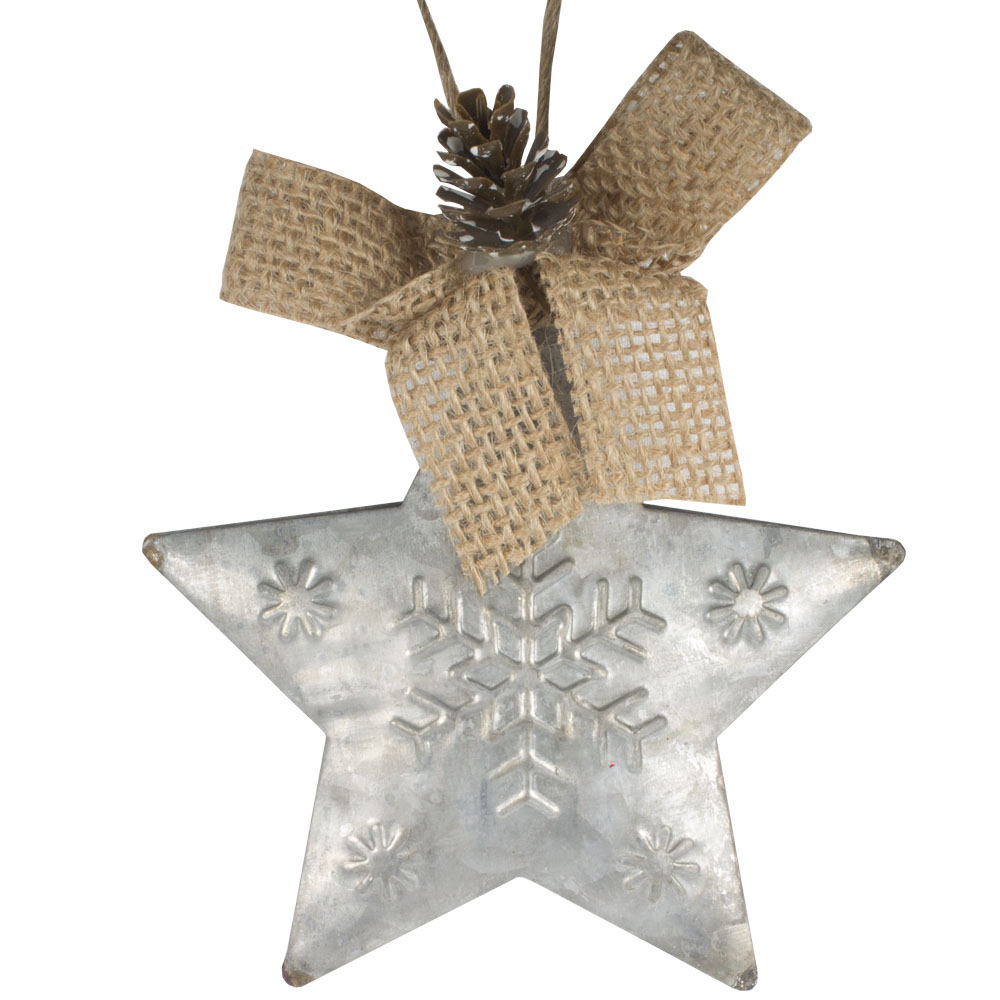 Metal Star Hanging Decoration With Snowflake Design, Jute Bow & Pinecone - 11cm