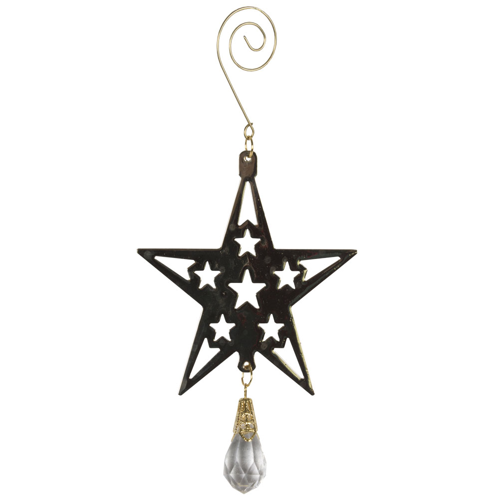 Gold Metal Silhouette Star Hanging Decoration With Acrylic Bead Dropper - 11cm