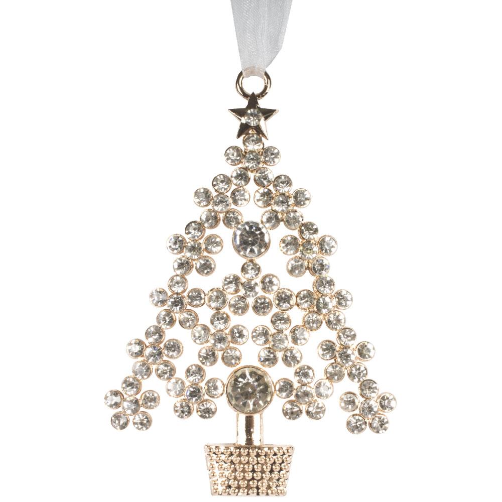 Metal Tree Hanging Decoration With White Organza Ribbon - 10cm