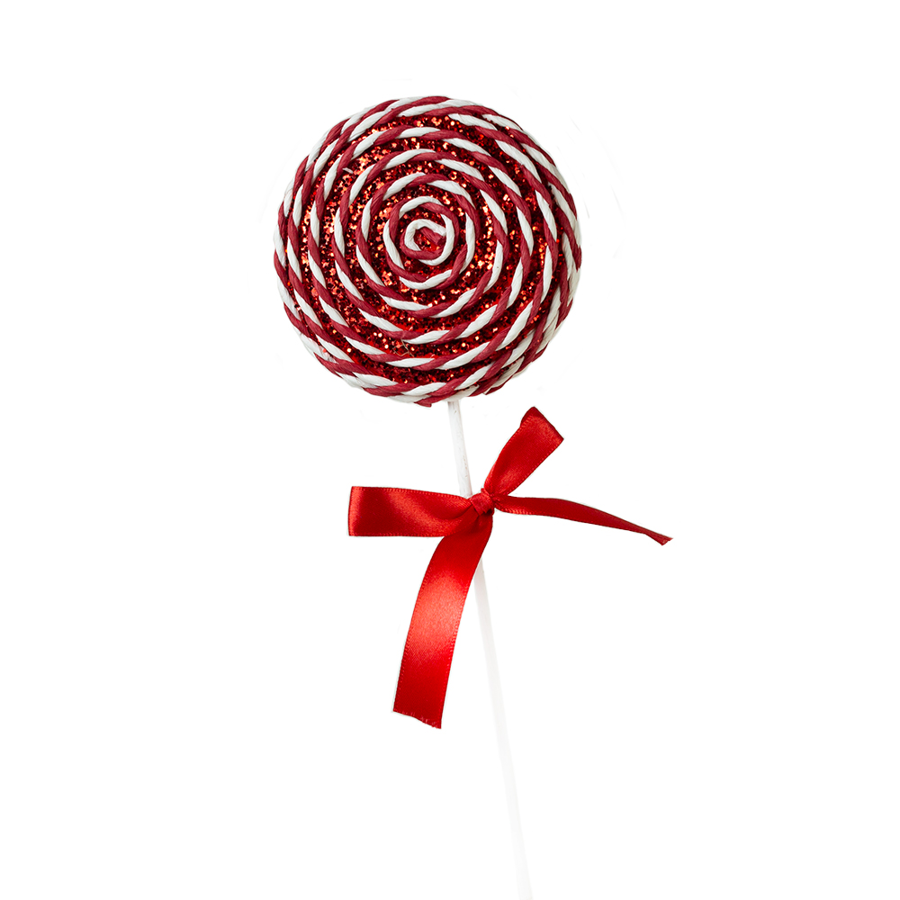Red & White Candy Striped Hanging Decoration - 28cm Lollipop